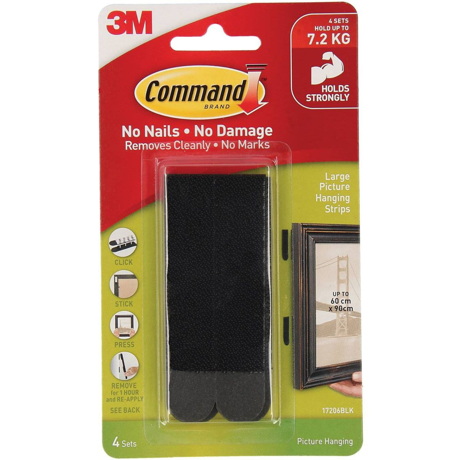 3M Command Picture Hanging Strips Large Black, 1 Each
