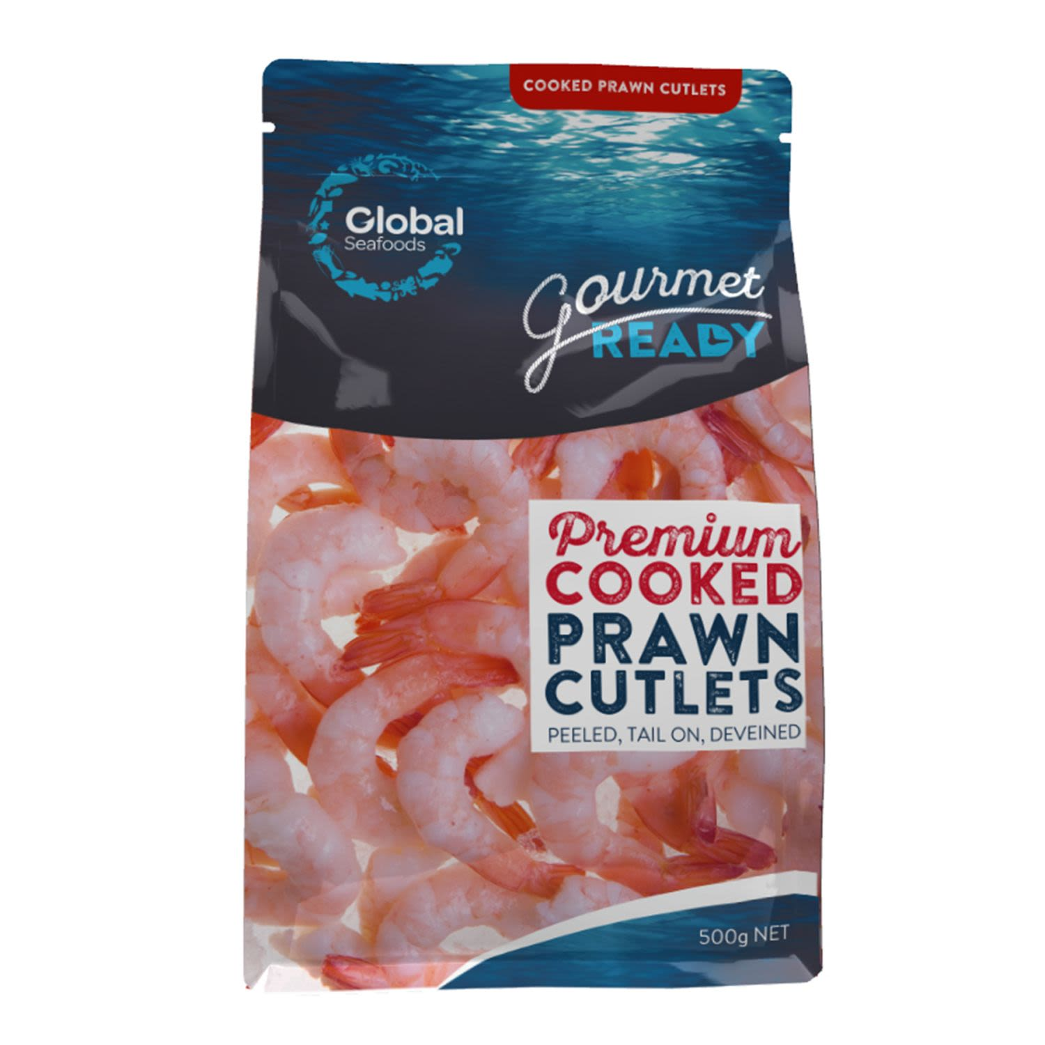 Global Prawns Cooked Tail On, 500 Gram