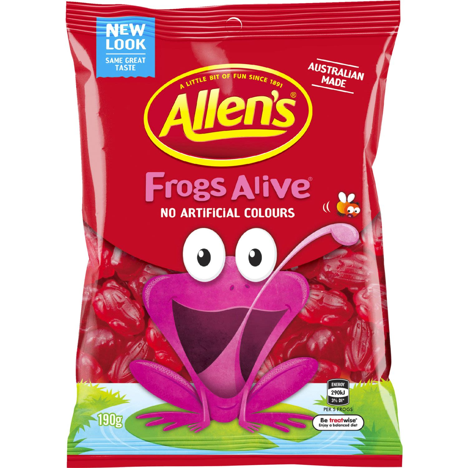 Allen's Frogs Alive are deliciously chewy raspberry jellies and a popular favourite. Catch these vibrant red frogs before they jump away! Twist it, stretch it, pull it, squish it or flatten it before enjoying a mouth-watering bite of fruity fun. Use them for your next baking decoration, or enjoy them straight from the bag. 5 Frogs = 1 Portion. Australian made and contains no artificial colours, so are great to share with family and friends. Contains Wheat. May contain Milk. Allen's makes smiles!