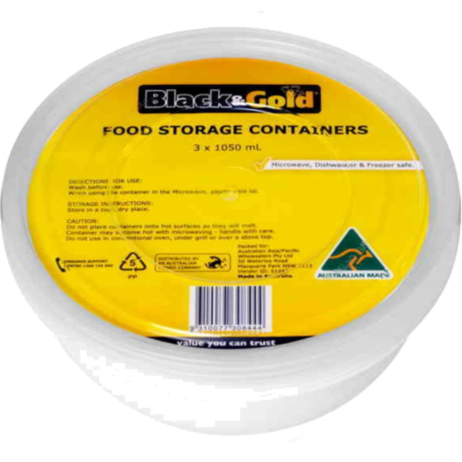 Black & Gold Round Container 1050ml, 3 Each