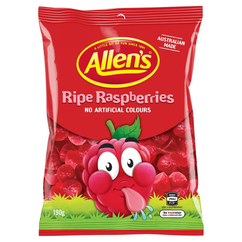 Allen's Ripe Raspberries Lollies Bag, 190 Gram
