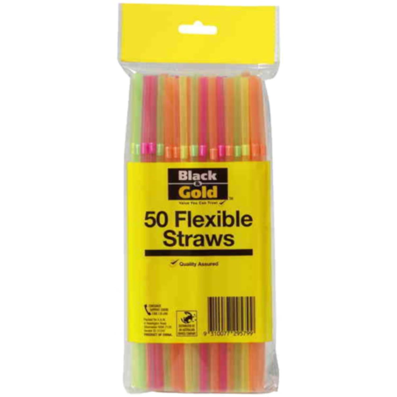 Black & Gold Flexible Drink Straws, 50 Each