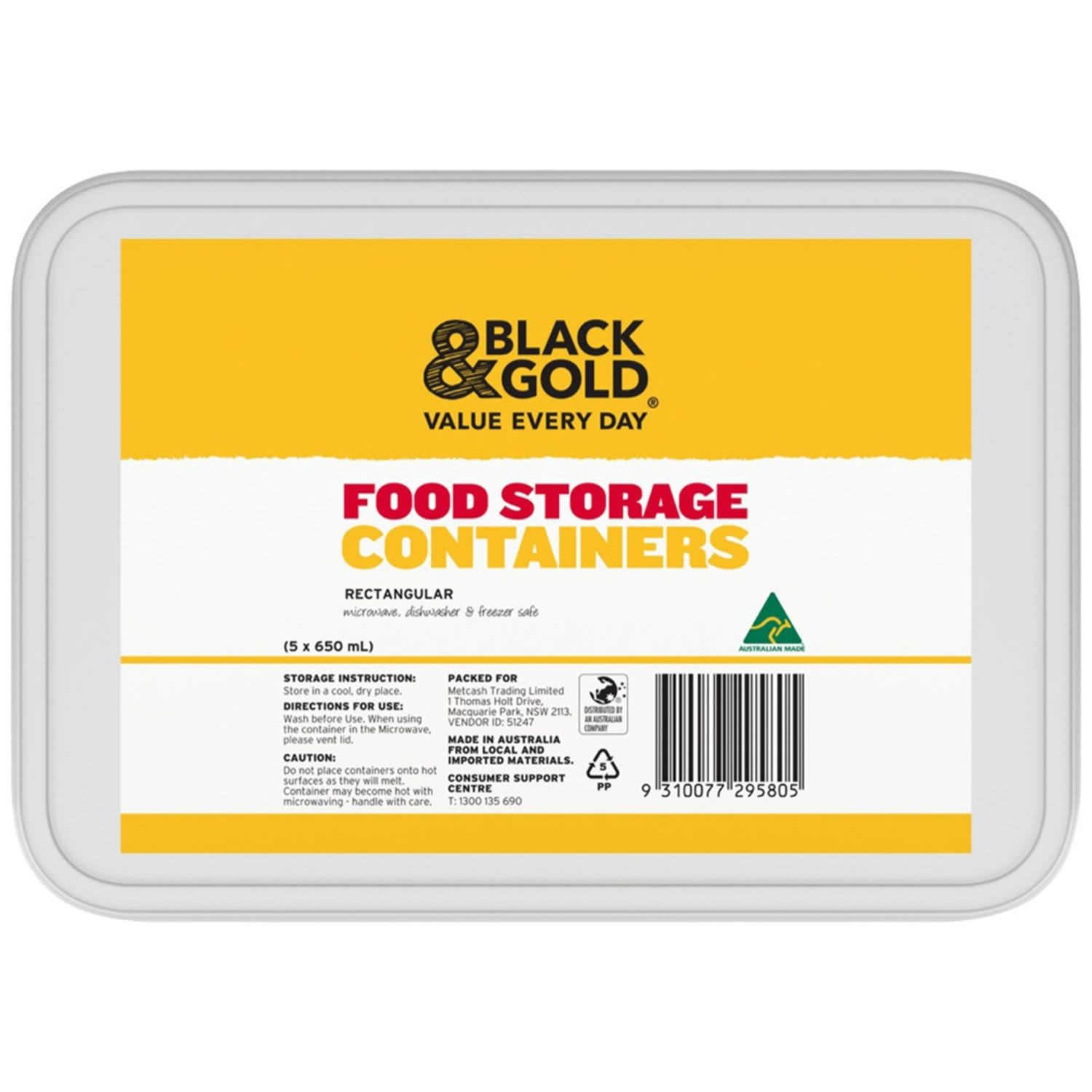Black & Gold Rectangle Containers, 5 Each