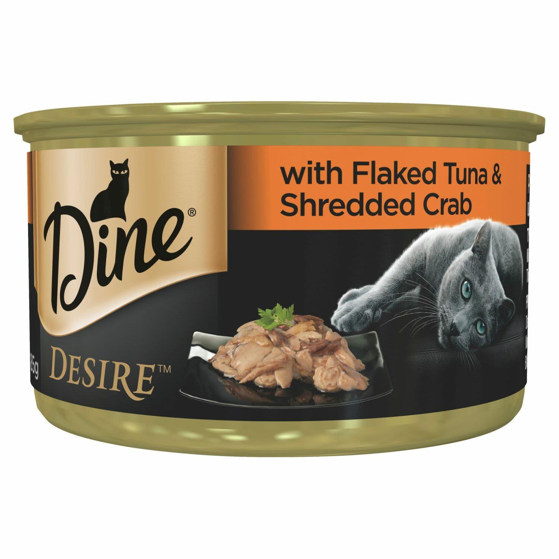 Dine Desire Flaked Tuna & Shredded Crab Grain Free Wet Cat Food, 85 Gram