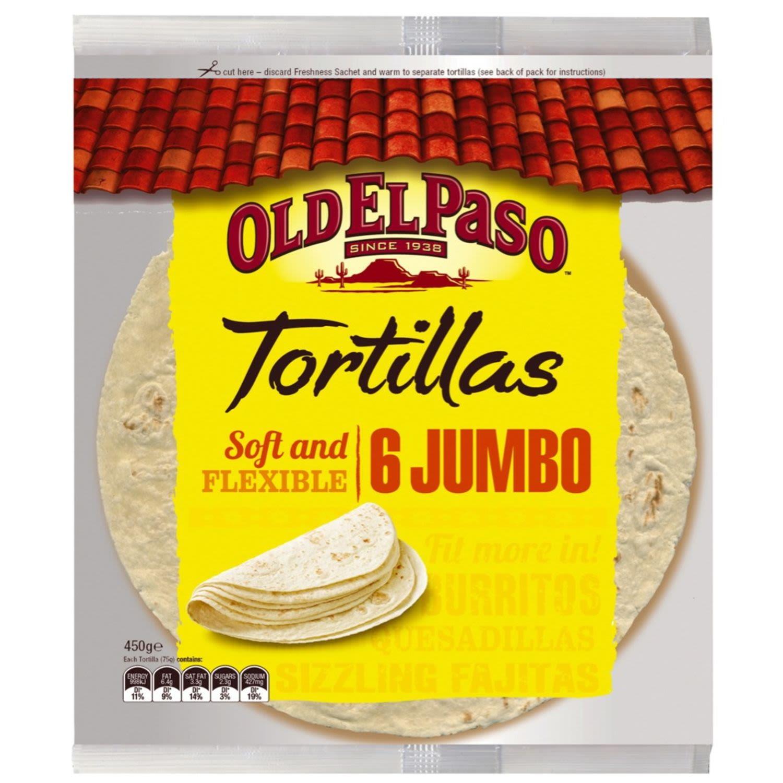 Old El Paso Burrito Tortillas Jumbo, 6 Each