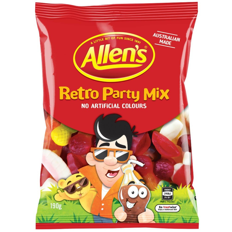 Allen's Retro Party Mix Lollies Bag, 190 Gram