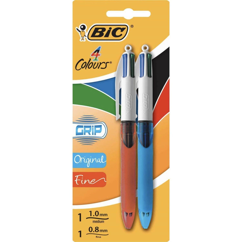 BIC 4 Coloured Grip Pen Medium & Fine, 2 Each