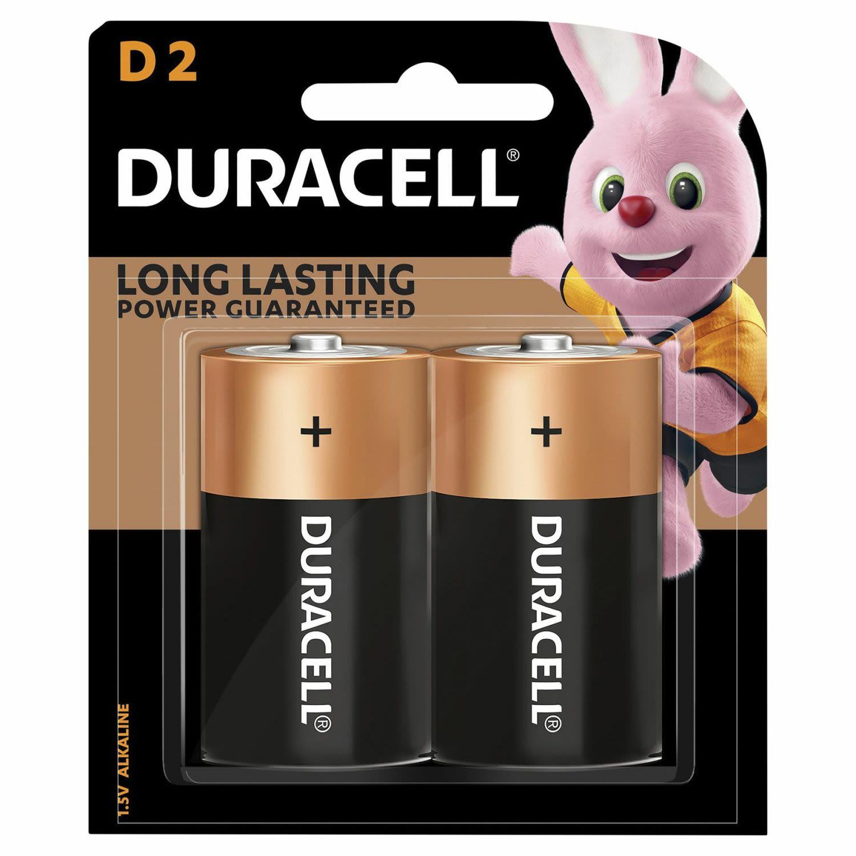 Duracell Coppertop Batteries D, 2 Each