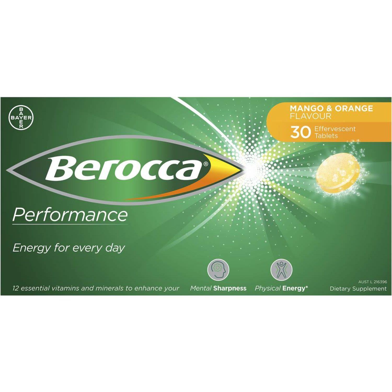 Berocca Energy Vitamin Mango & Orange Effervescent Tablets, 30 Each