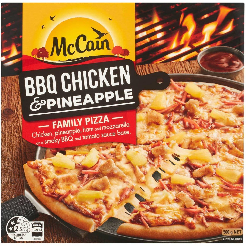 McCain Family Pizza BBQ Chicken & Pineapple, 500 Gram