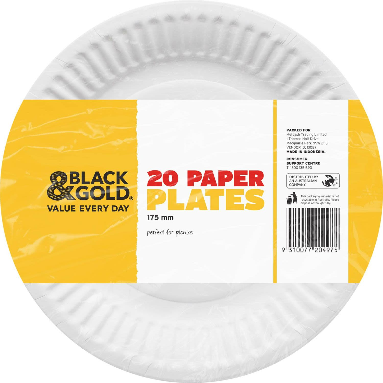 Black & Gold Paper Plates 175mm, 20 Each