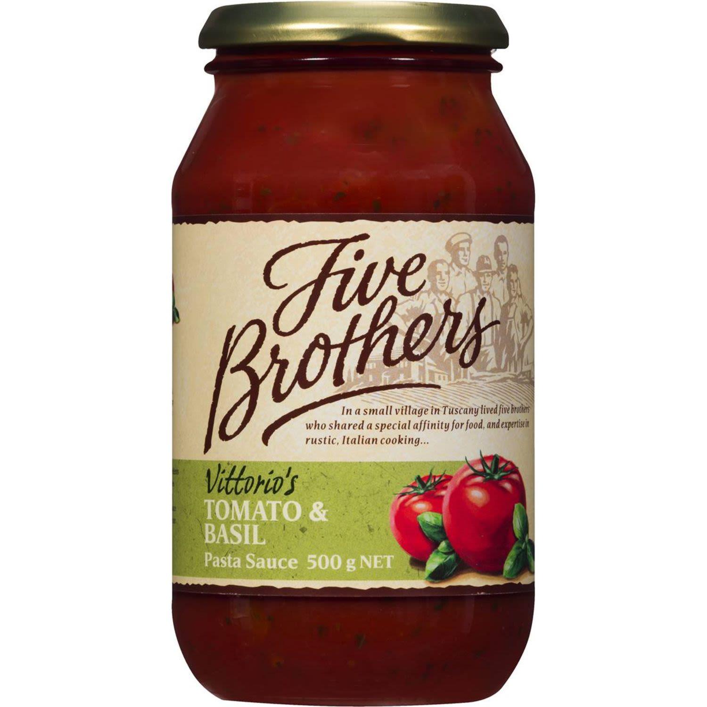 Bertolli Five Brothers Pasta Sauce Tomato & Basil, 500 Gram
