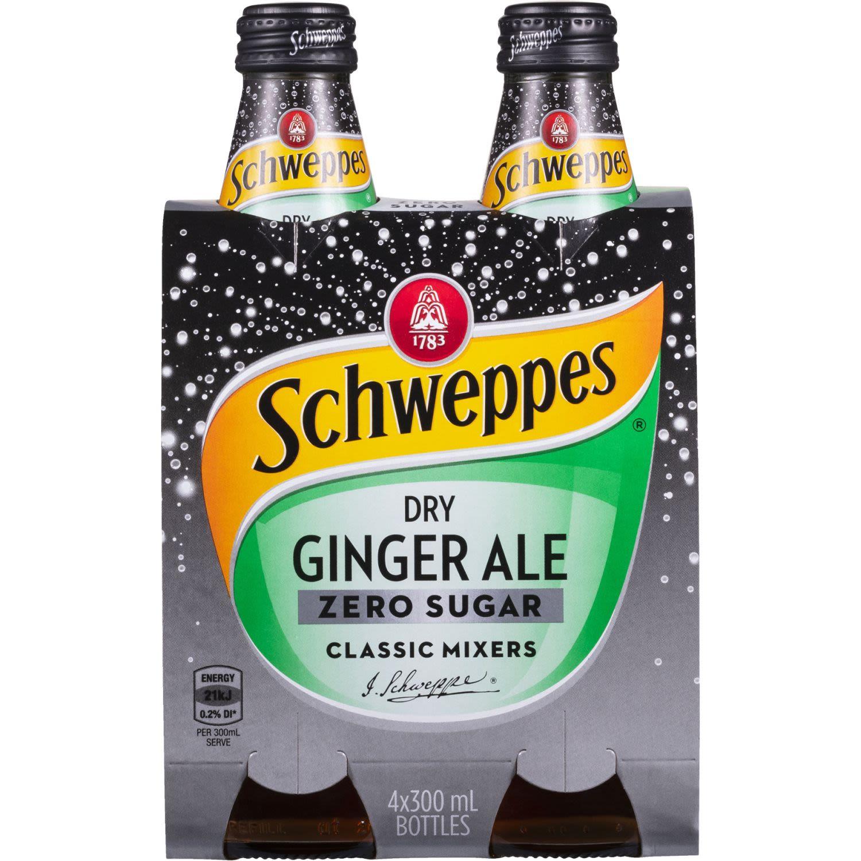 Schweppes Dry Ginger Ale Zero Sugar, 4 Each