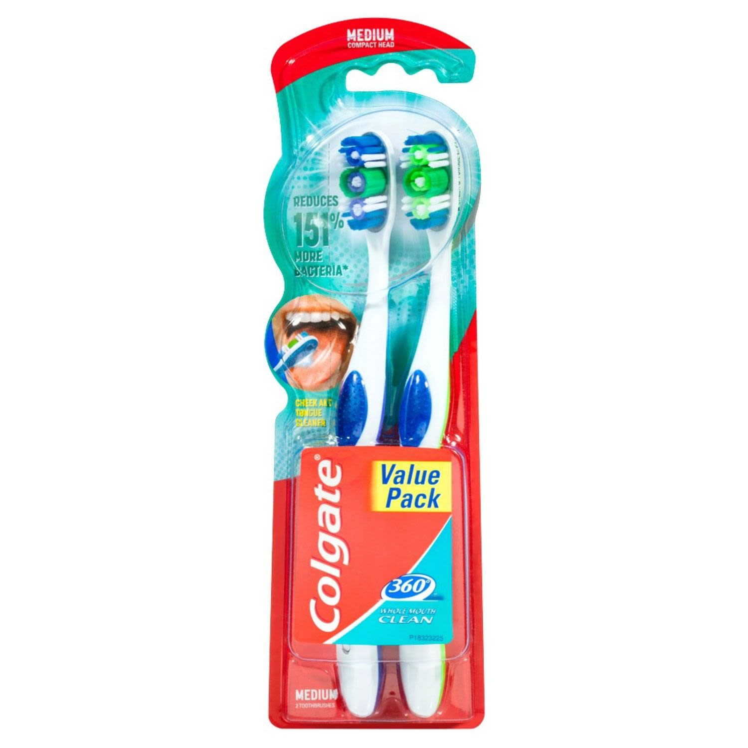 Colgate 360 Degrees Whole Mouth Clean Compact Head Toothbrush Medium, 2 Each