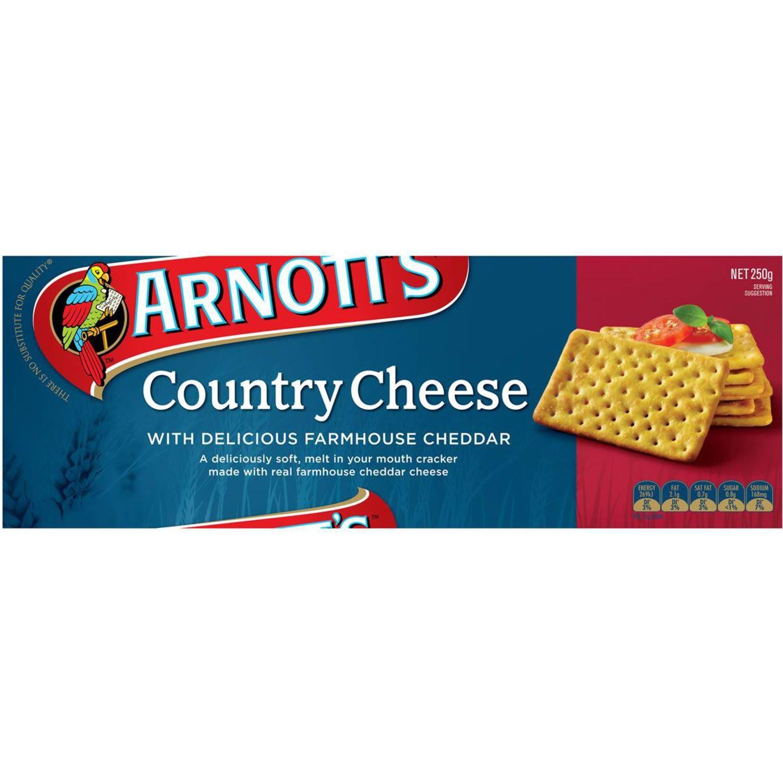 Arnott's Crackers Country Cheese, 250 Gram