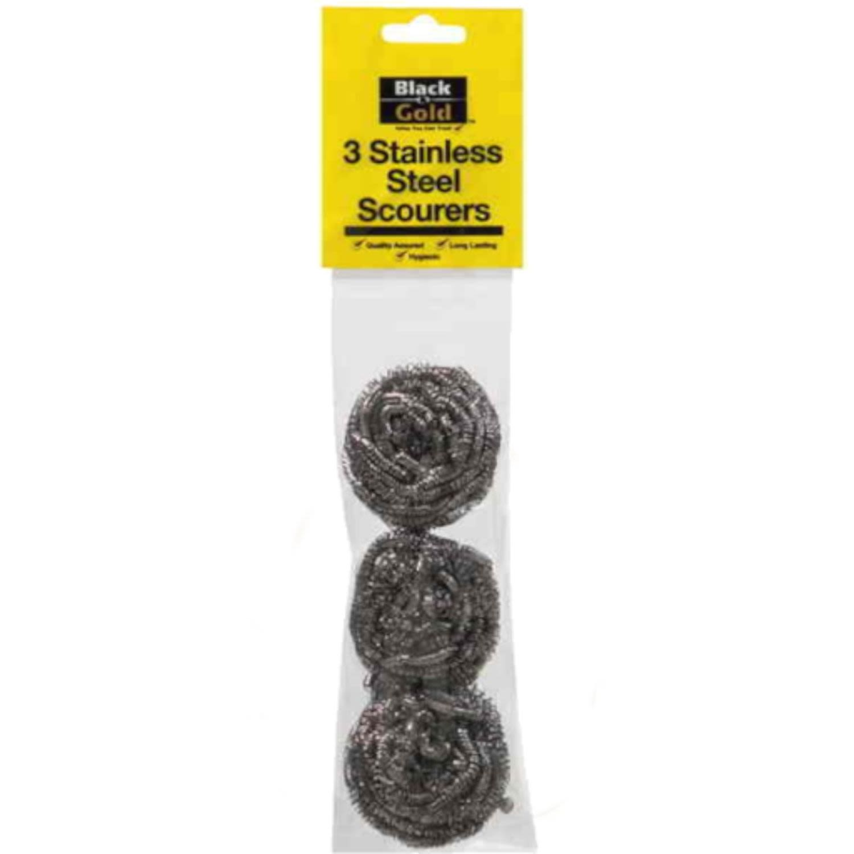Black & Gold Scourer Stainless Steel, 3 Each