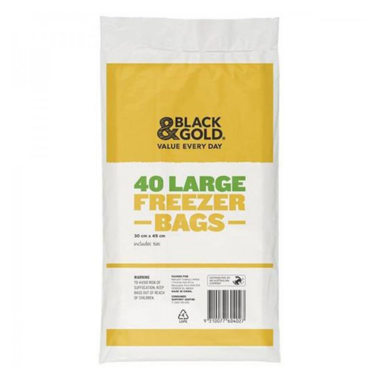 Black & Gold Freezer Bag Large, 40 Each