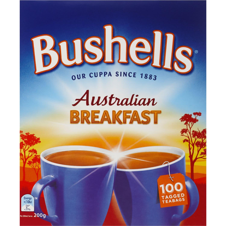 Bushells Australian Breakfast Black Tea Bags, 100 Each