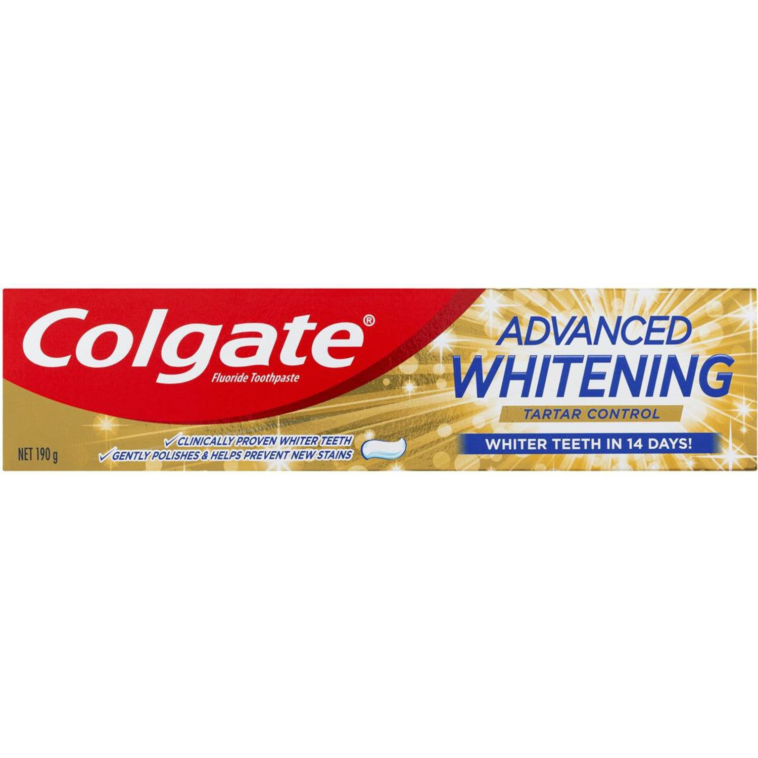 Colgate Advanced Whitening Tartar Control Whitening Toothpaste with Microcleansing Crystals, 190 Gram