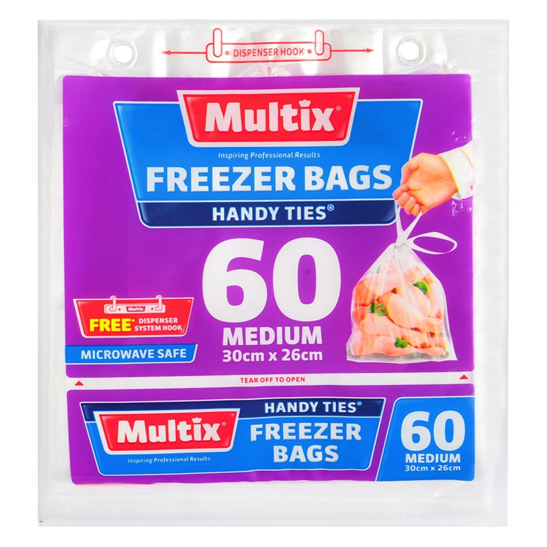 Multix Freezer Bag Handy Ties Medium, 60 Each