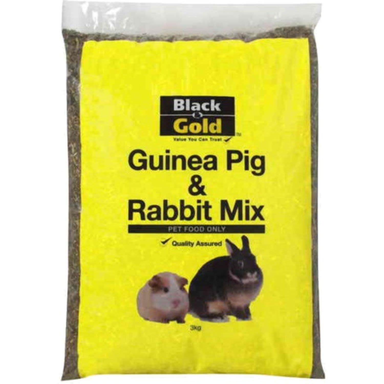Black & Gold Guinea Pig & Rabbit Mix, 3 Kilogram