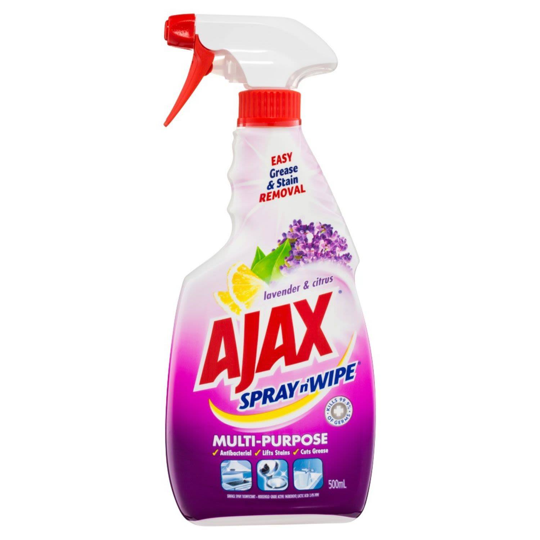 Ajax Spray n' Wipe Multi-Purpose Antibacterial Disinfectant Cleaner Trigger Surface Spray Lavender & Citrus, 500 Millilitre
