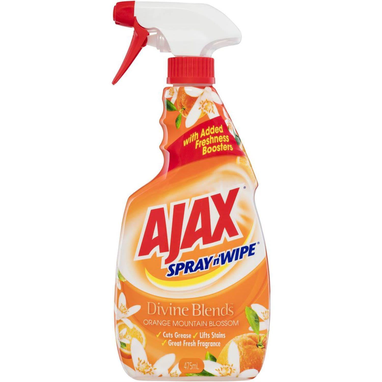 Ajax Spray n' Wipe Divine Blends Multi-Purpose Kitchen & Bathroom Cleaner Trigger Spray Orange Mountain Blossom, 475 Millilitre