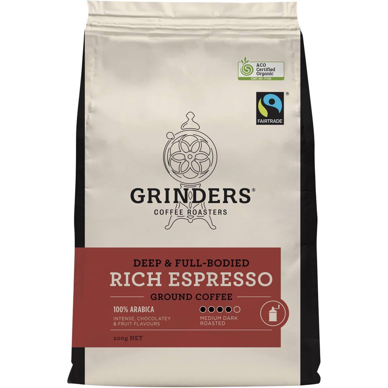 Grinders Ground Coffee Espresso, 200 Gram