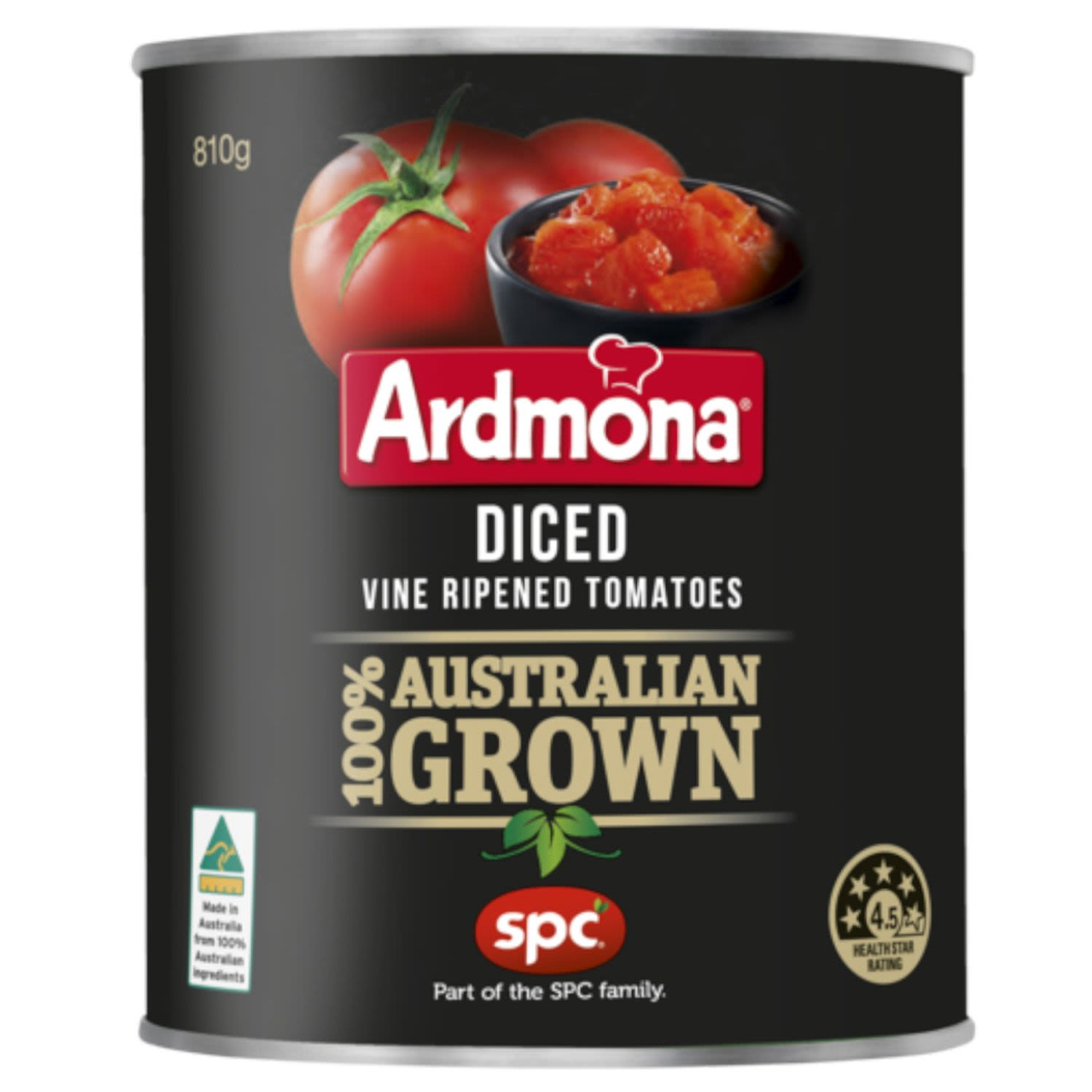 Ardmona Chopped Vine Ripened Tomatoes.  100% Australian grown.  Mark Hill, Timmering, Victoria.  Mark Hill is a tomato grower from Timmering, Northern Victoria. He is one of a select group of Australian tomato growers, who provide quality tomatoes for Ardmona products.  - No artificial colours, flavours or preservatives.  - Tomatoes are a source of the antioxidant lycopene.  - No added salt or sugar.