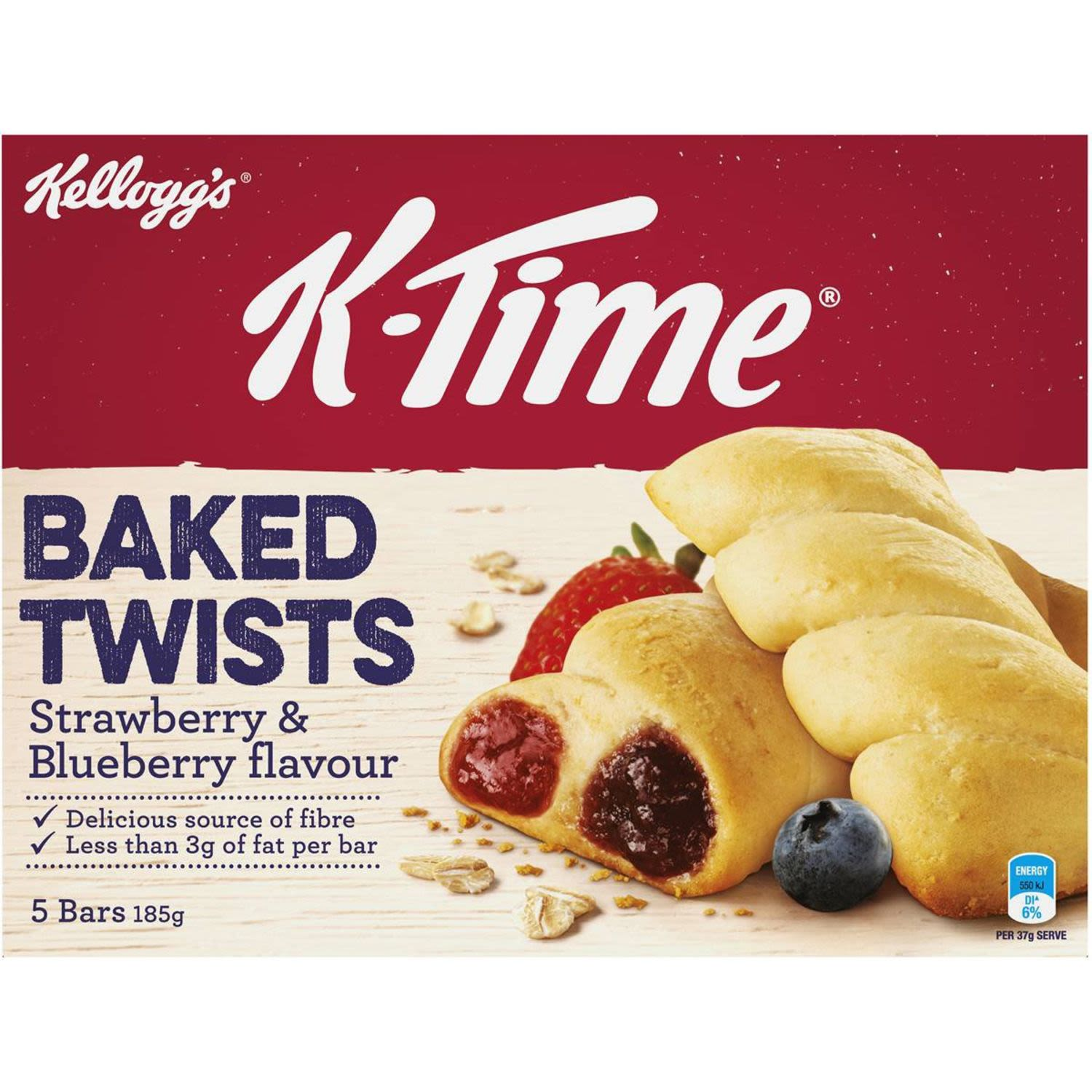 Kellogg's K-Time Baked Twists fruit flavour filled snack bars are a delightful combination of strawberry and blueberry flavoured fillings delicately twisted throughout a softly baked wheat and oat crust.  A great snack for the morning, afternoon or any time of the day that you need a pick me up, K-Time Baked Twists are a delicious source of fibre that can be enjoyed by the whole family!