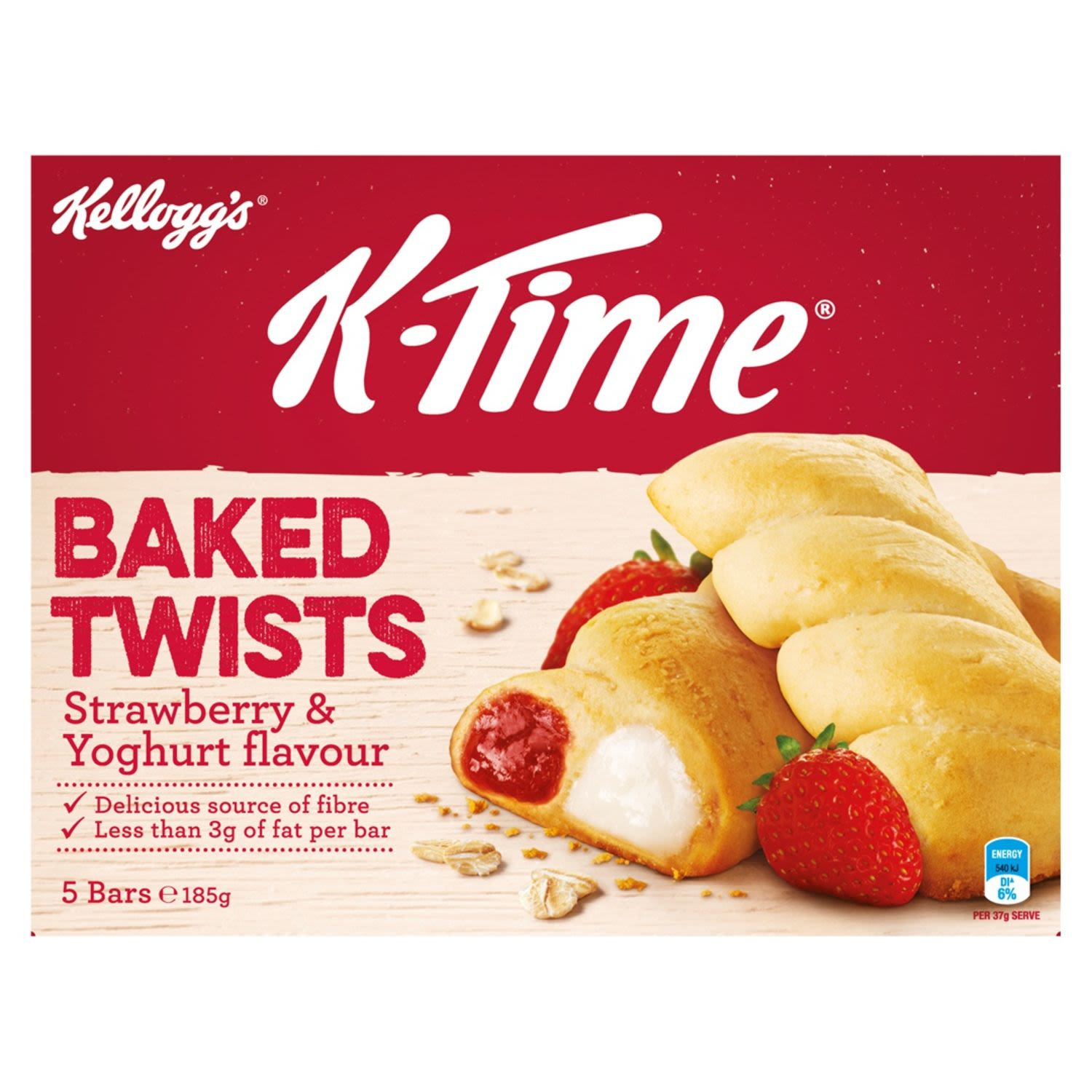 Kellogg's K-Time Baked Twists snack bars are a delightful combination of strawberry and yoghurt flavoured fillings delicately twisted throughout a softly baked wheat and oat crust.  A great snack for the morning, afternoon or any time of the day that you need a pick me up, K-Time Baked Twists are a delicious source of fibre that can be enjoyed by the whole family!