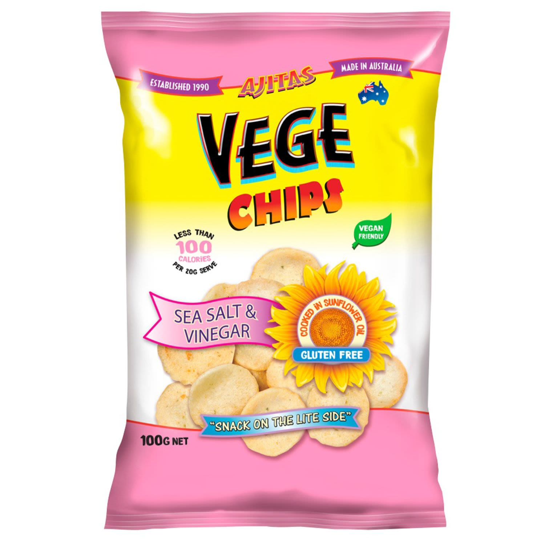 Ajitas Vege Chips Sea Salt & Vinegar, 100 Gram