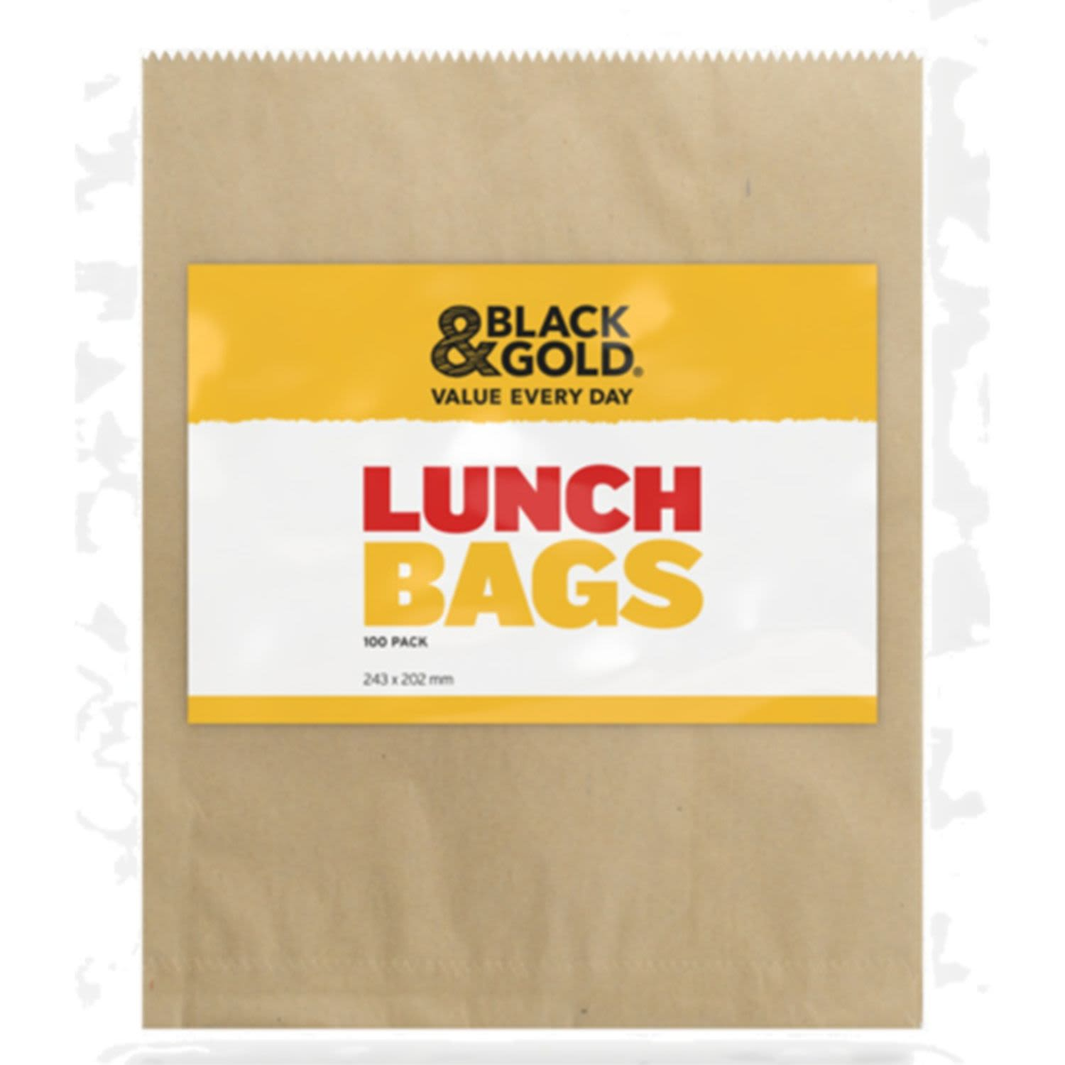 Black & Gold Lunch Bags, 100 Each