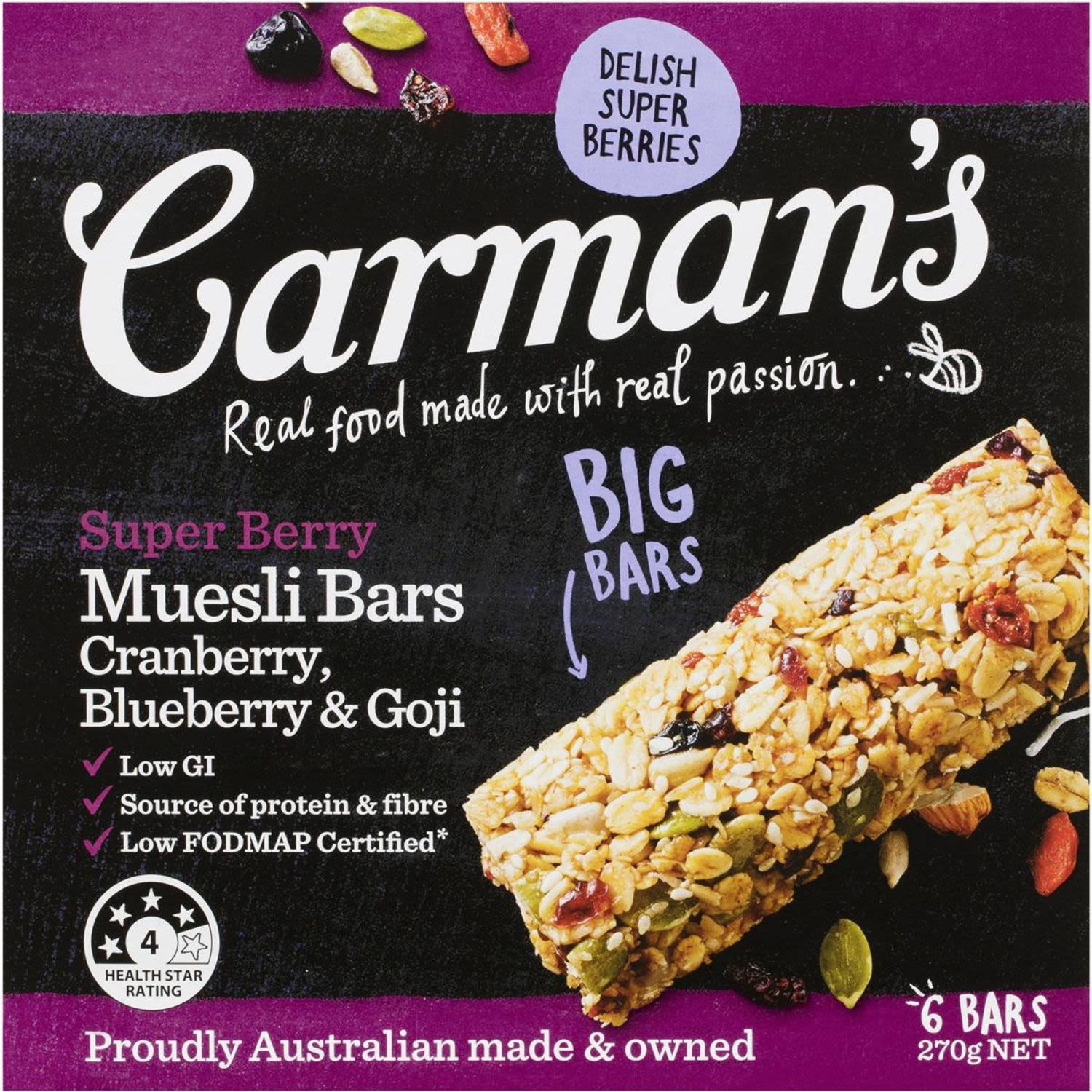 Carman's Super Berry Muesli Bars are full of oaty goodness, crunchy coconut and gourmet cranberries, blueberries and goji berries, making for a downright delicious snack that leaves you feeling, well, super!