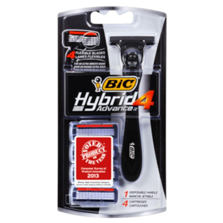 BIC Shaver Hybrid 4 Advance Mens, 4 Each