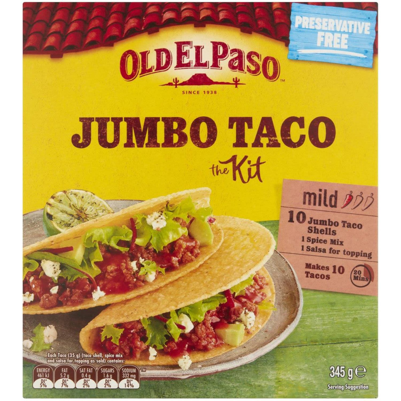 Old El Paso Mild Jumbo 10 Taco Kit, 345 Gram