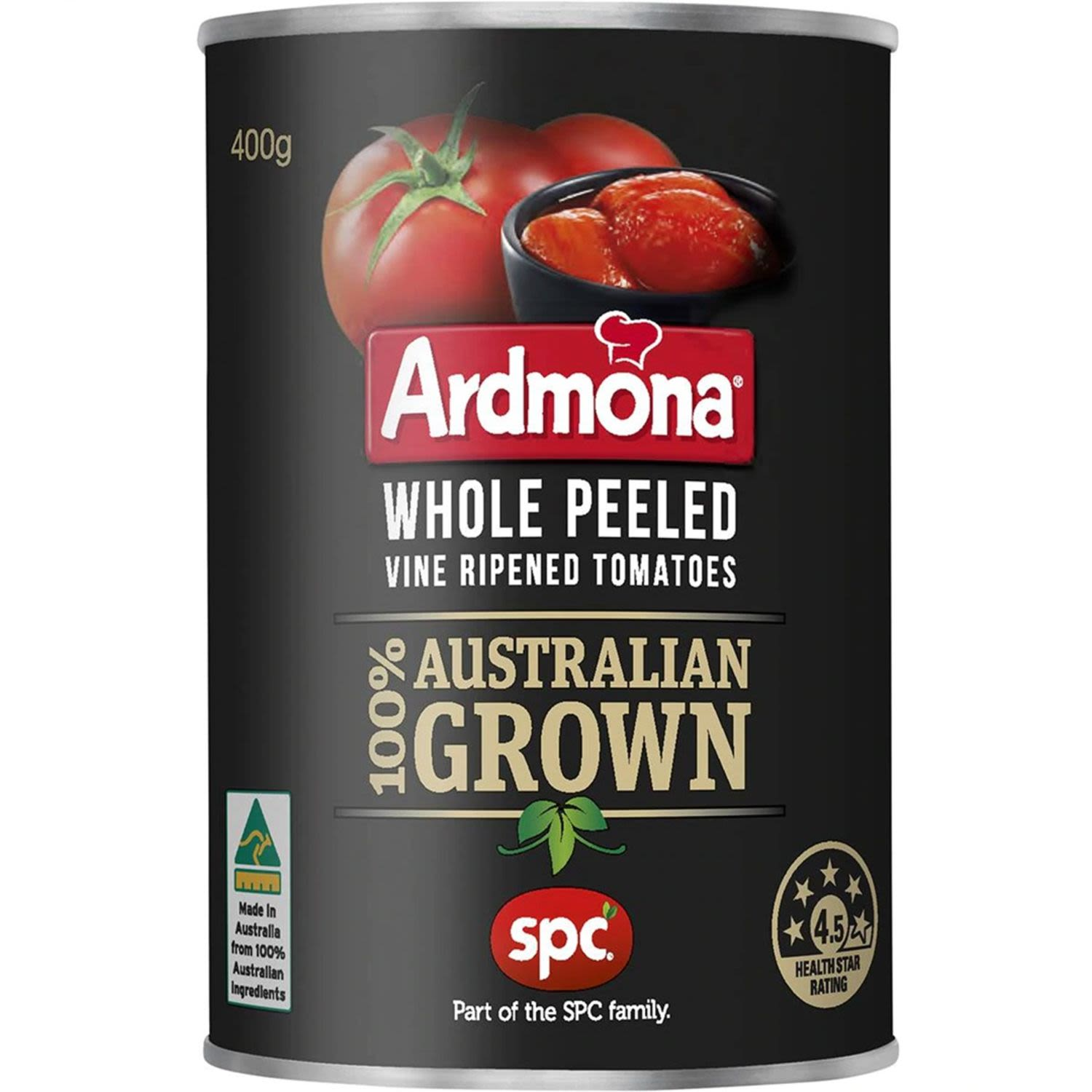 Ardmona Whole Peeled Vine Ripened Tomatoes.  100% Australian grown.  Jim and Neil, Echuca, Victoria.  Jim and Neil Geltch are tomato growers near Echuca, Northern Victoria. They are part of a select group of Australian tomato growers, who provide quality tomatoes for Ardmona products.  - No artificial colours, flavours or preservatives.  - Tomatoes are a source of the antioxidant lycopene.  - No added salt or sugar.