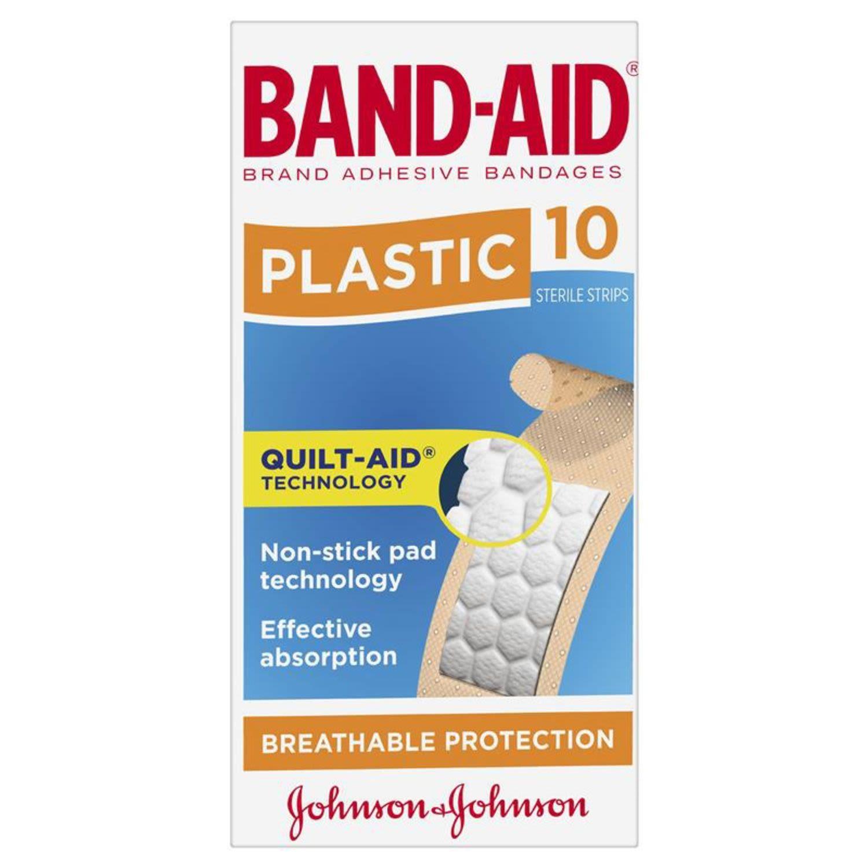 Band Aid Plastic Strips, 10 Each