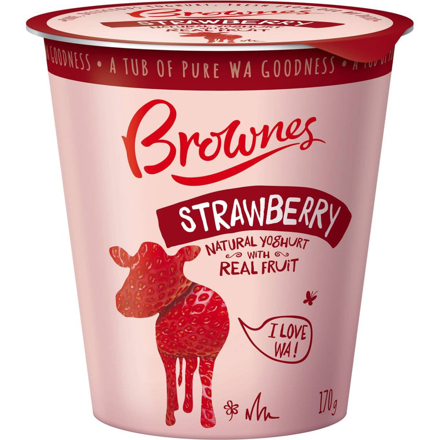Brownes Natural Yoghurt With Strawberry, 170 Gram