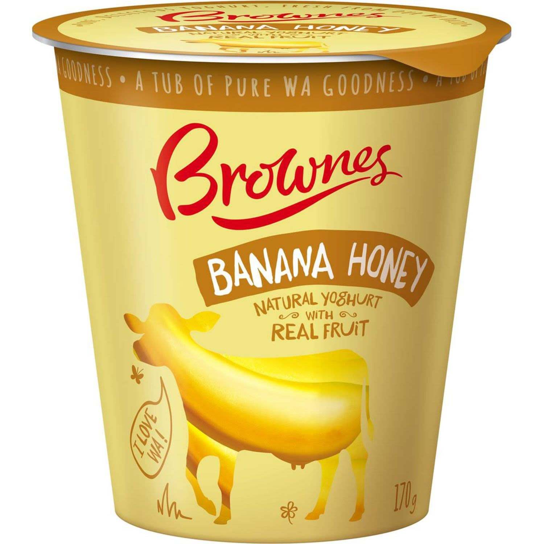 Brownes Natural Banana Honey Yoghurt, 170 Gram