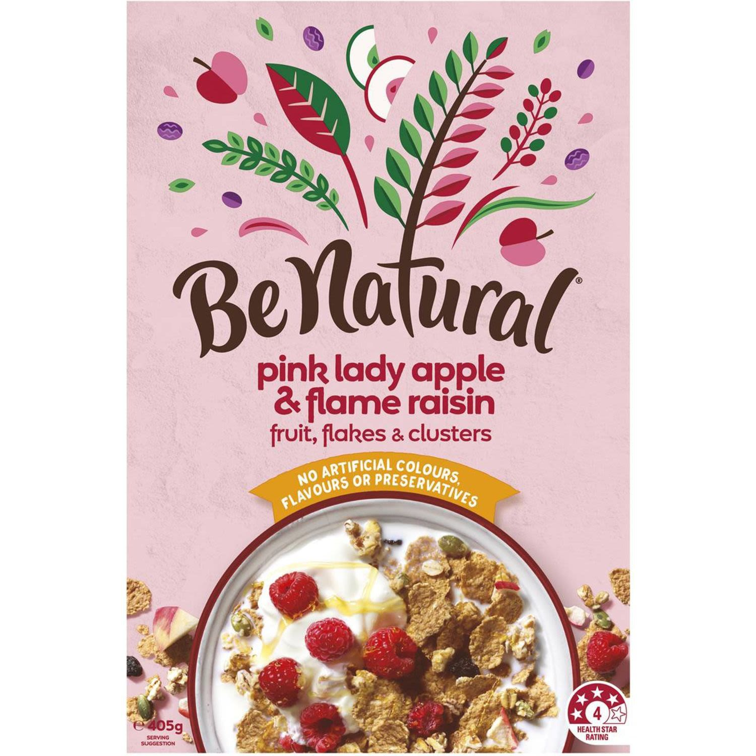 Be Natural Breakfast Cereal With Pink Lady Apple & Flame Raisins, 405 Gram