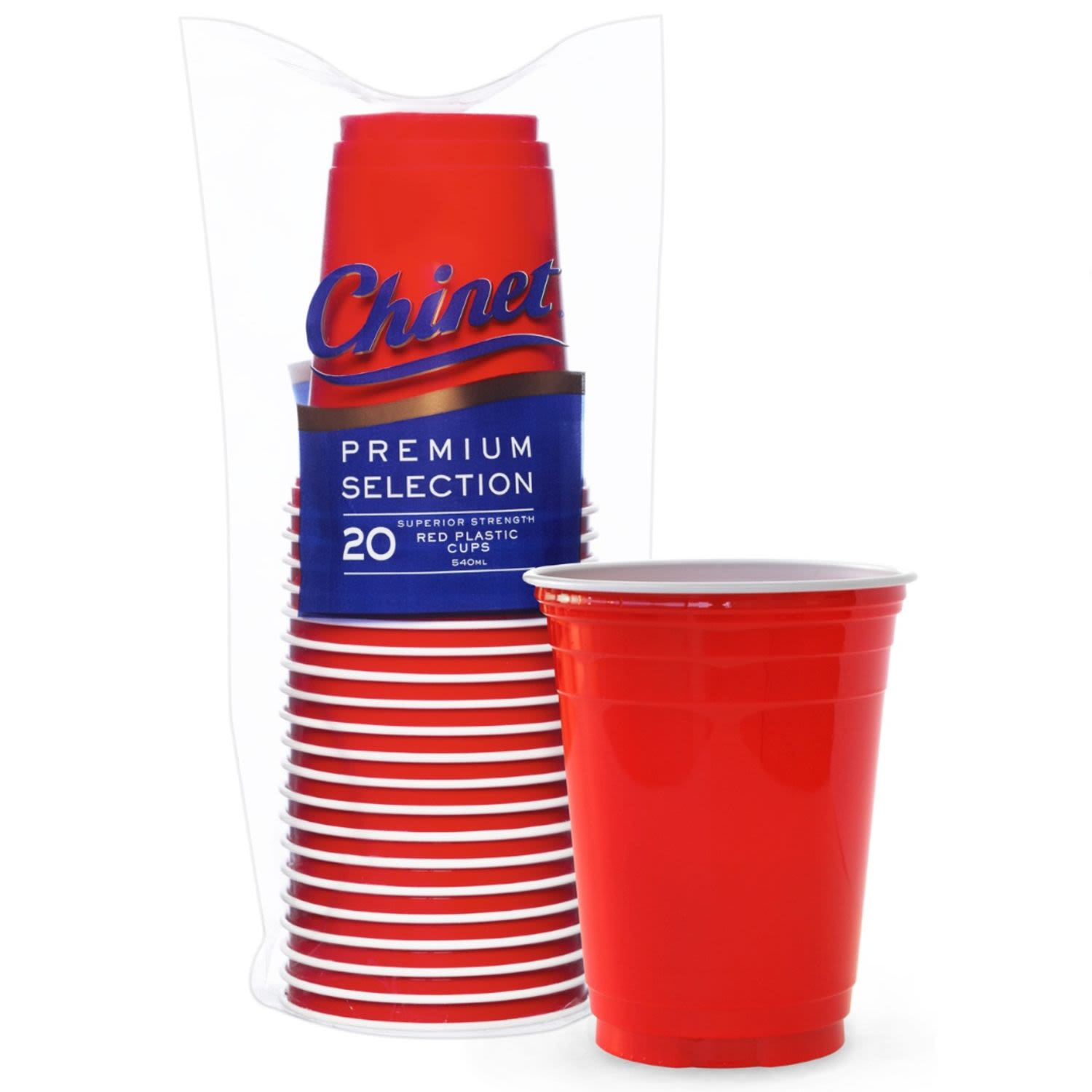 Chinet Bioware Red Plastic Cup 540ml, 20 Each