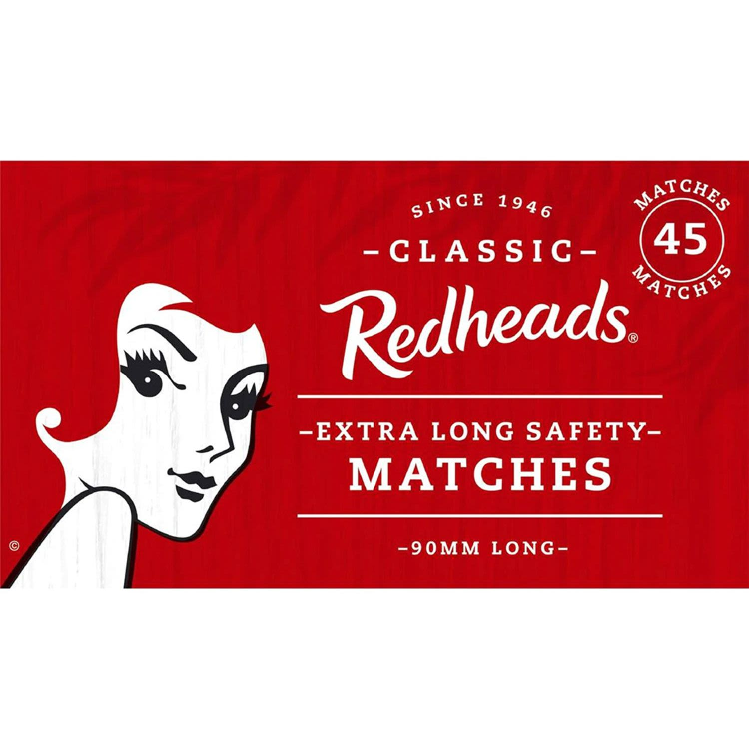 Redheads Extra Long Matches Extra Long, 45 Each