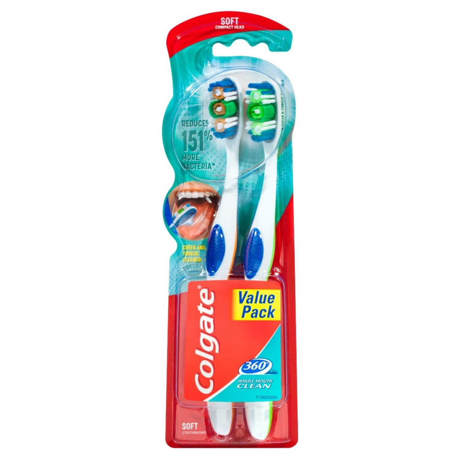 Colgate 360 Degrees Whole Mouth Clean Compact Head Toothbrush Soft, 2 Each