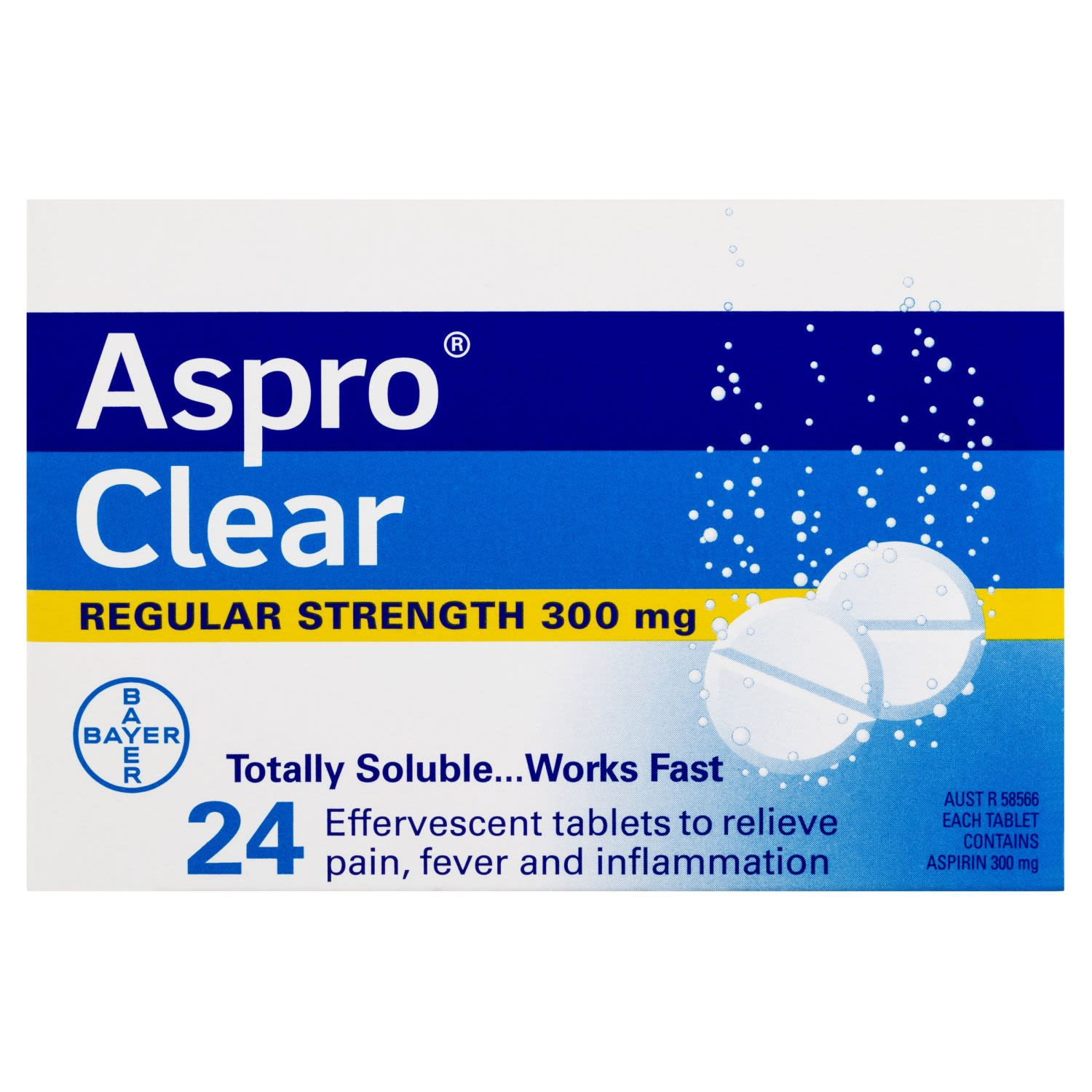 Aspro Clear Pain Relief Soluble Tablets, 24 Each