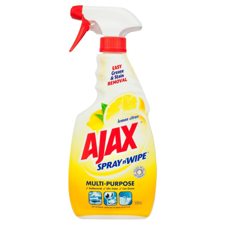 Ajax Spray n' Wipe Multi-Purpose Antibacterial Disinfectant Cleaner Trigger Surface Spray Lemon Citrus, 500 Millilitre