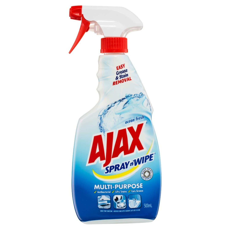 Ajax Spray n' Wipe Multi-Purpose Antibacterial Disinfectant Cleaner Trigger Surface Spray Ocean Fresh, 500 Millilitre