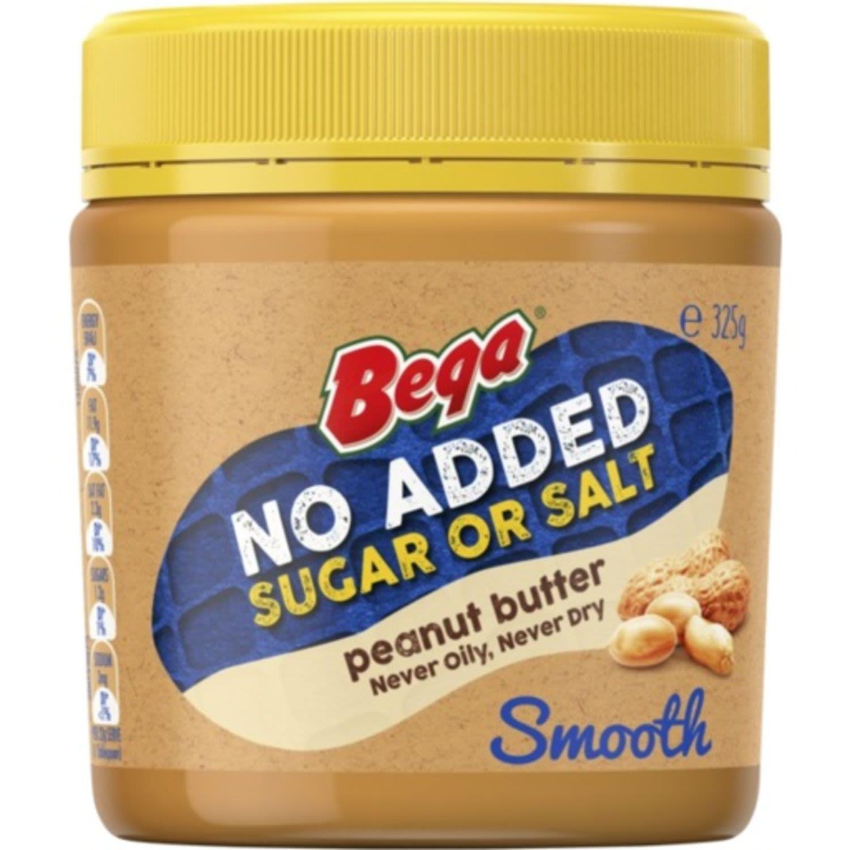 Bega Peanut Butter Smooth No Added Sugar Or Salt, 325 Gram