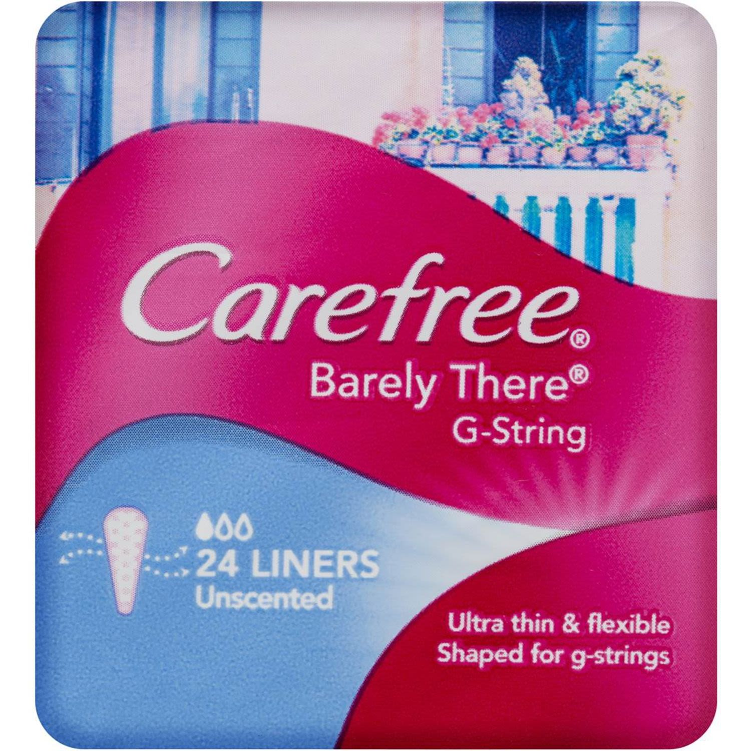 Carefree Panty Liners Barely There G String, 24 Each