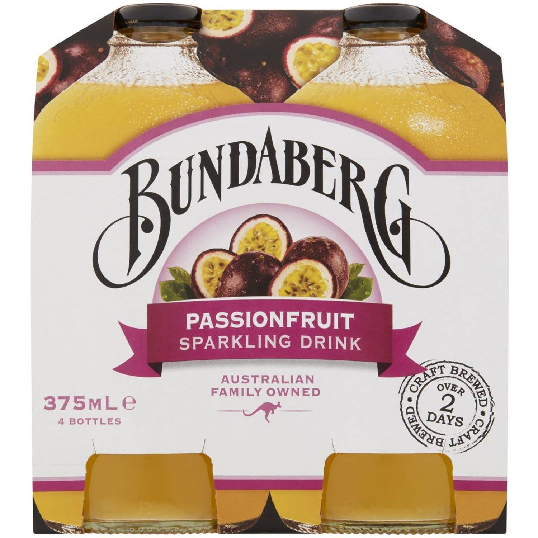Bundaberg Sparkling Passionfruit Sparkling Drink, 4 Each